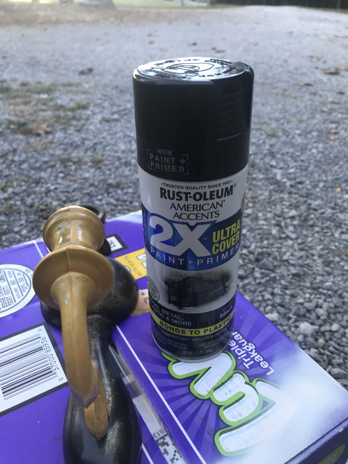 Spray painting candle sconces