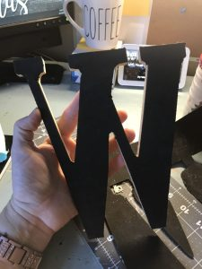 wooden letter backed with foam