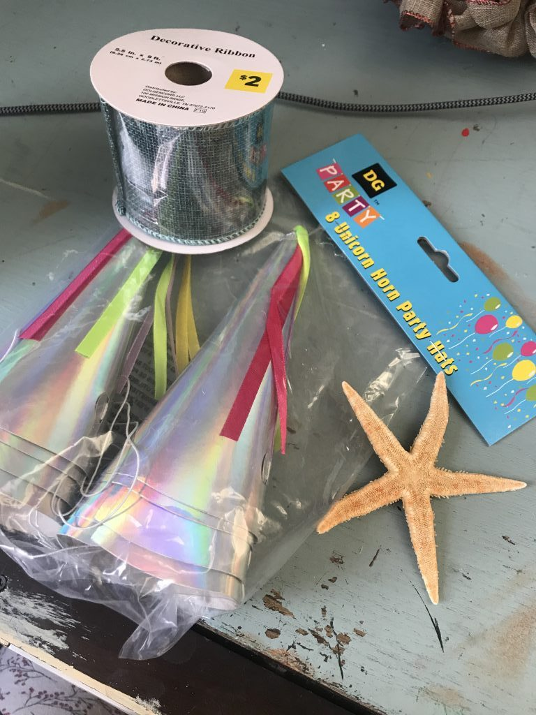party hats and ribbon