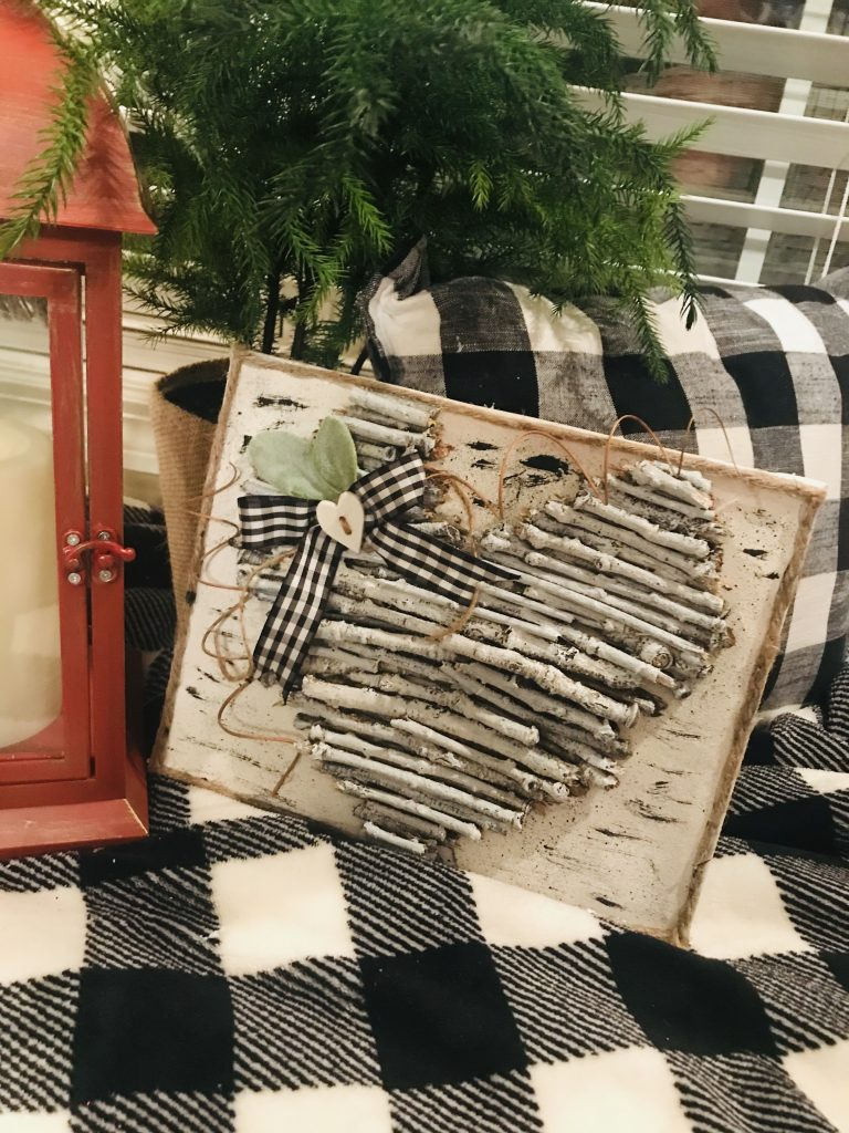 twig heart canvas buffalo plaid rustic farmhouse top ten valentines