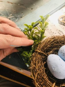 adding boxwood to birds nest frame