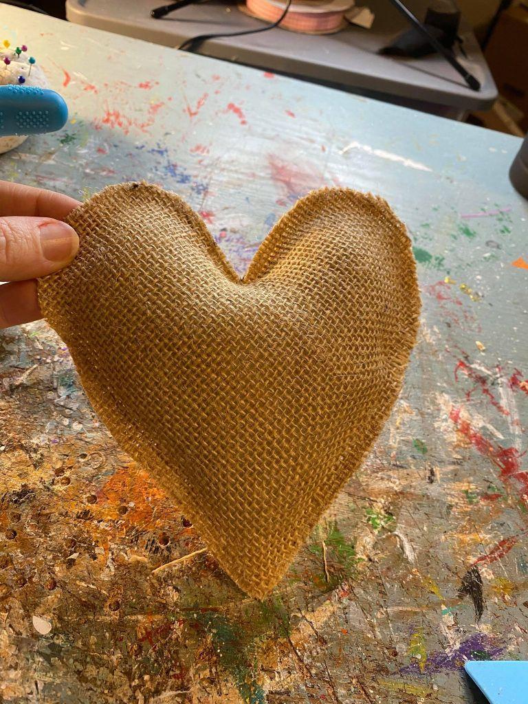 stuffed burlap heart
