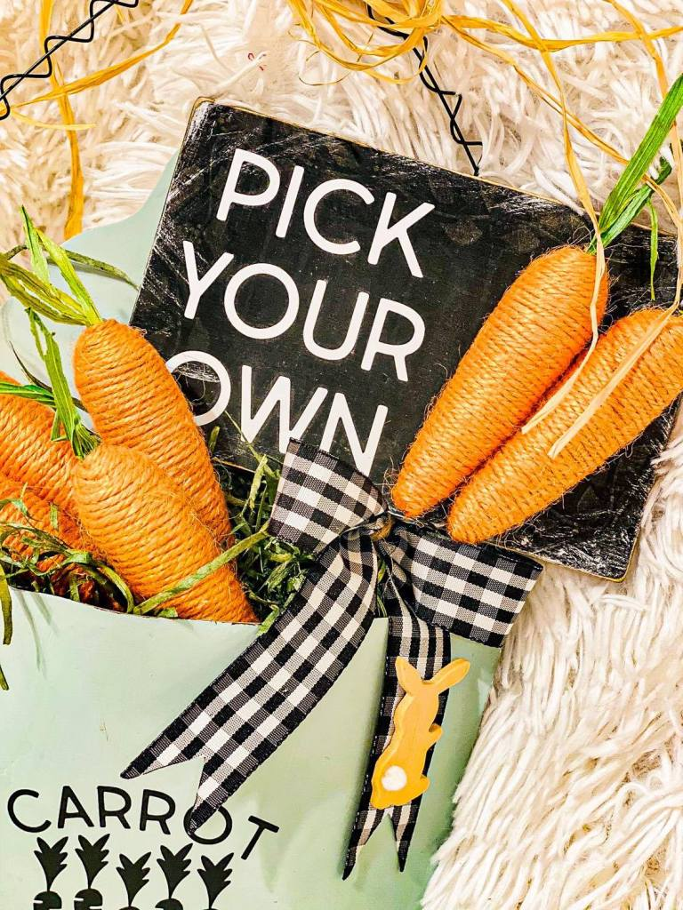 carrot patch | Easter decoration | buffalo plaid bow | awareness bow