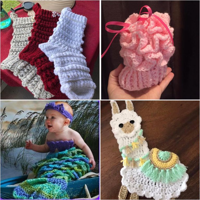 crochet collage | crochet Christmas stocking | crochet llama | crocodile stitch | crochet baby bootie
