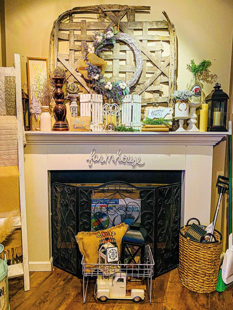 Farmhouse mantel before picture | makeover