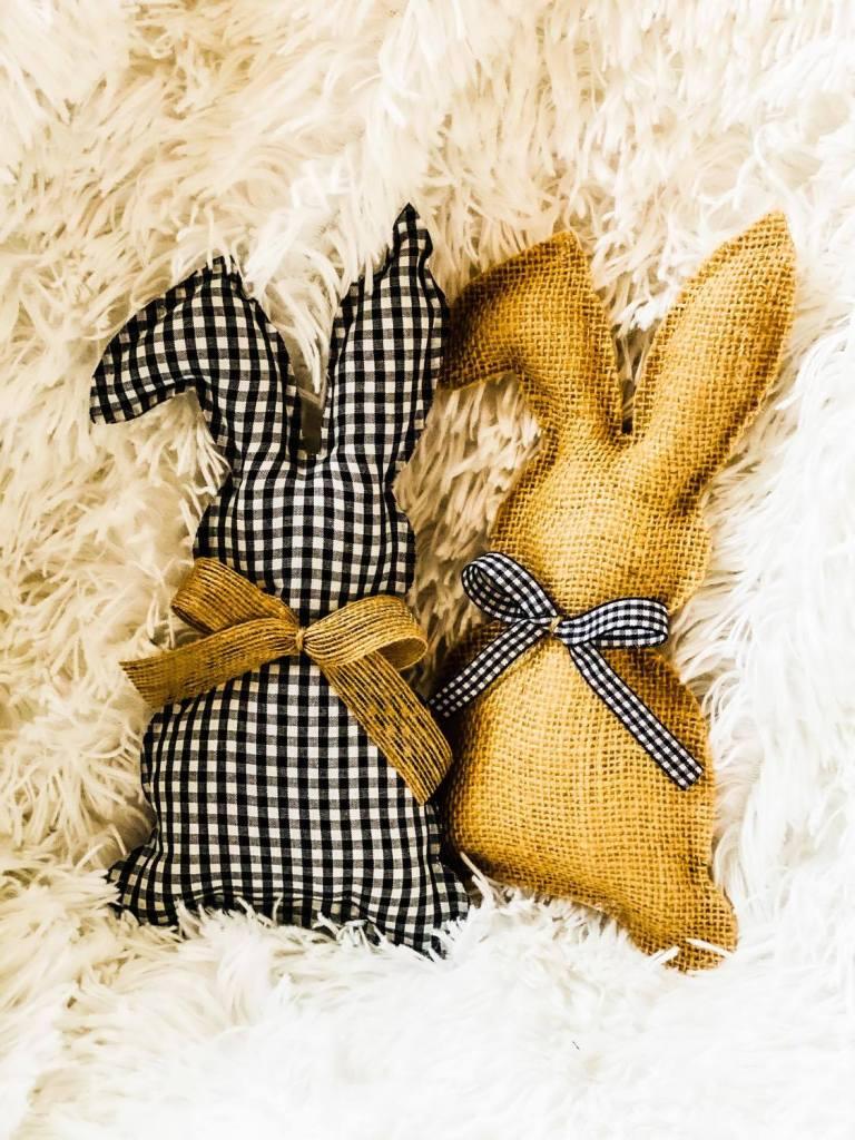 stuffed easter bunnies | buffalo plaid | burlap bunnies | farmhouse easter