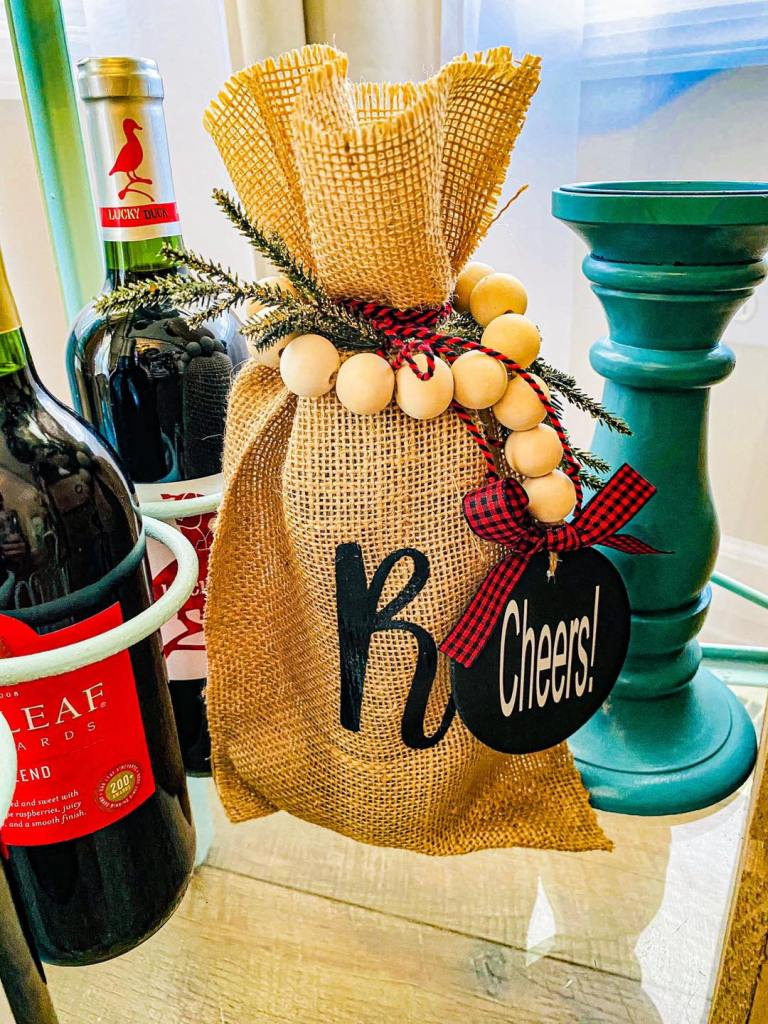 Burlap Personalized Wine Bag
