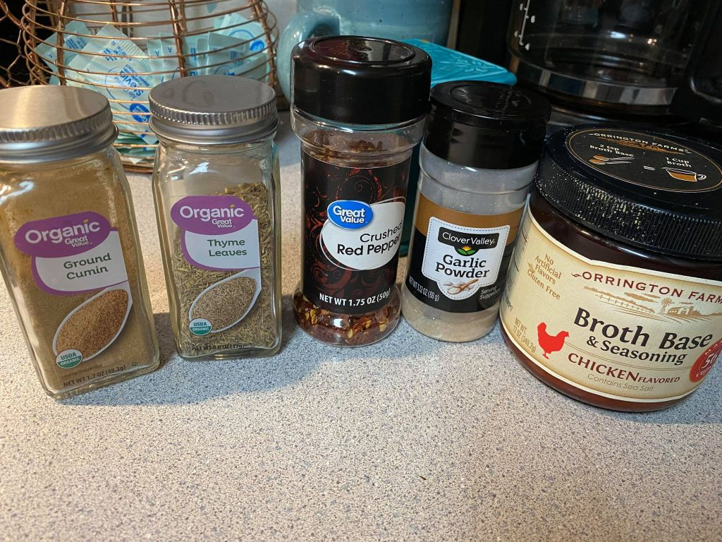 spices added to creamy chicken noodle soup recipe