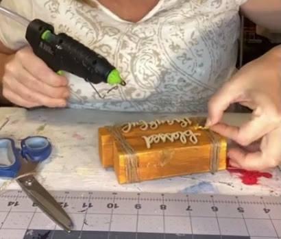 adding embellishments to a fall wood block shelf sitter
