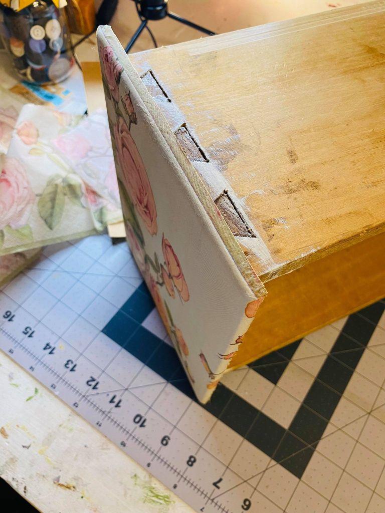 napkin added to a vanity drawer #decoupagedfurniture