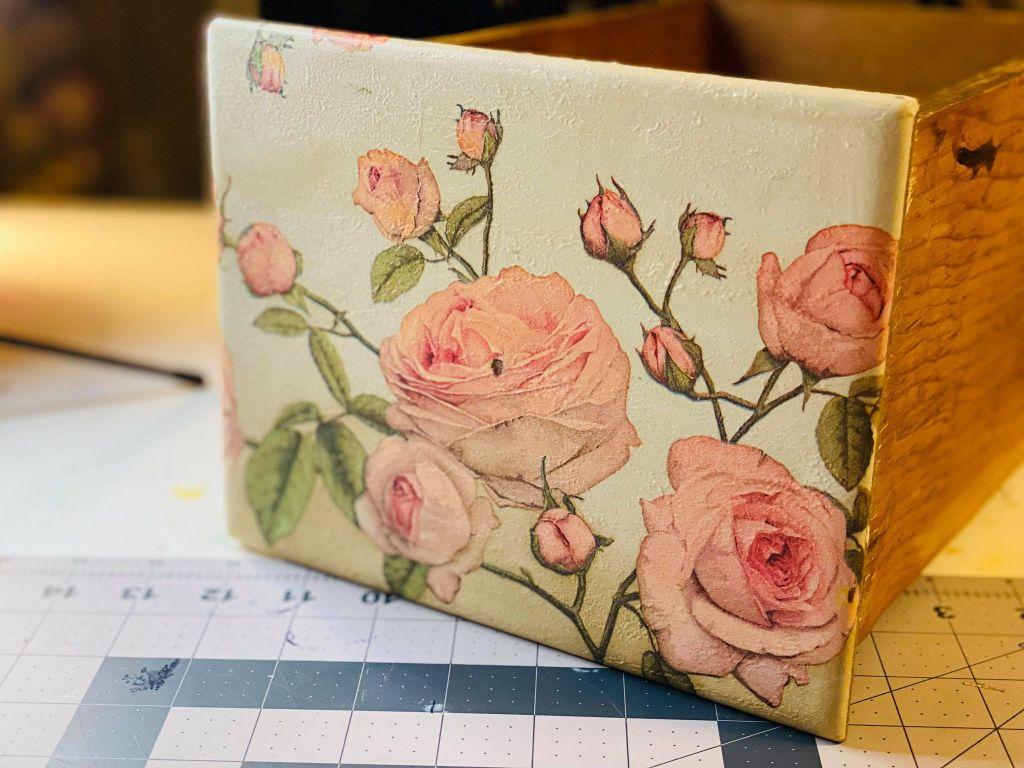 rose napkin decoupaged onto a vanity drawer