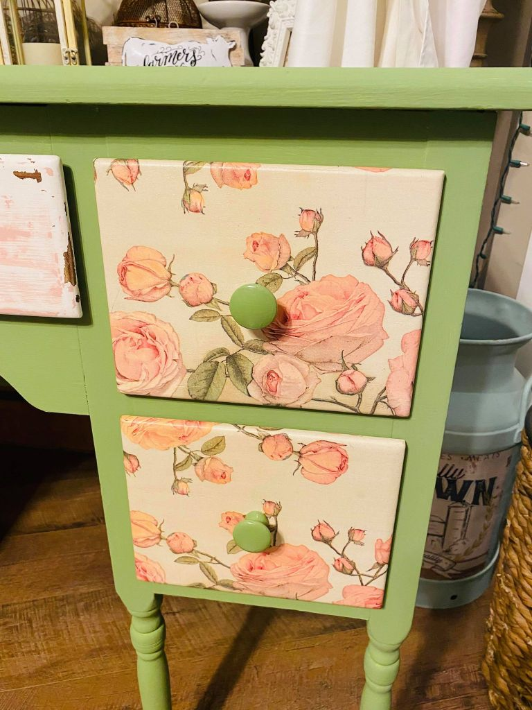 vanity drawers decoupaged with a rose napkin