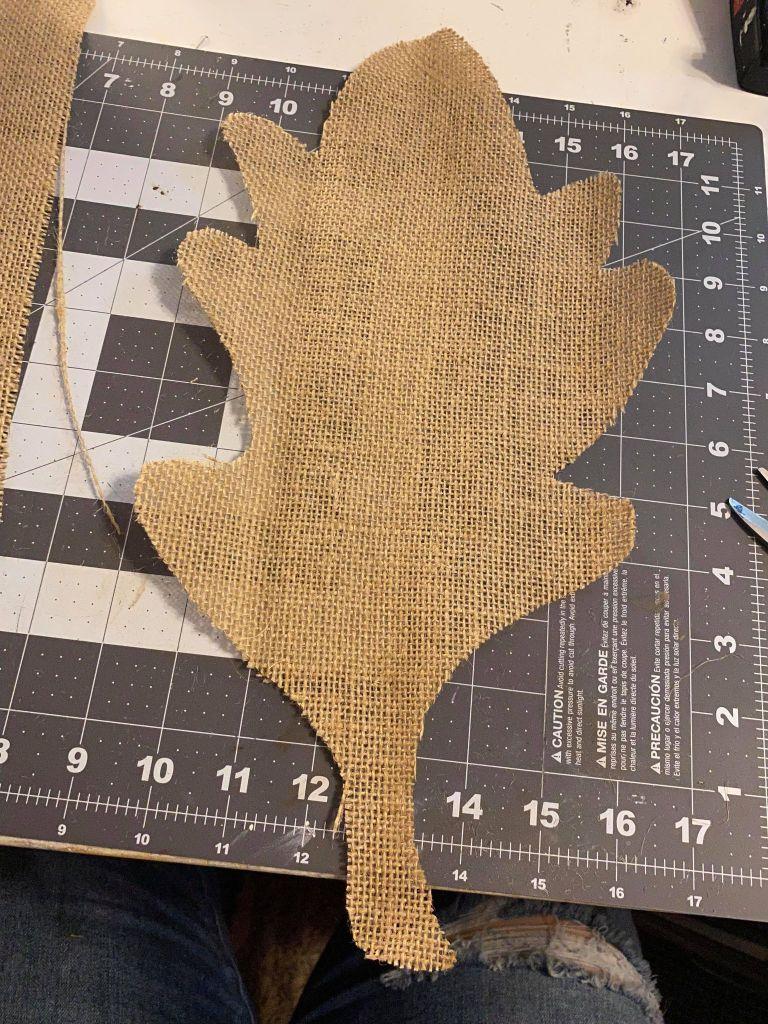 burlap oak leaf cutout