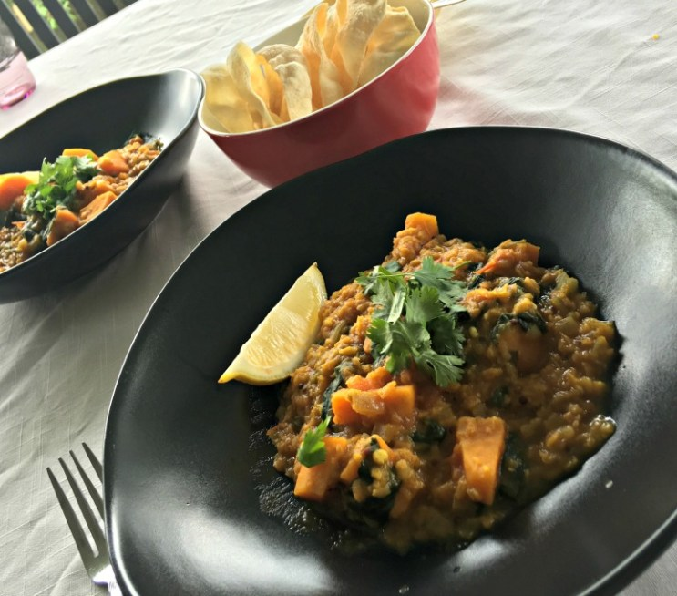 Red Lentil Dal with Sweet Potato and Spinach www.myediblearchive.com