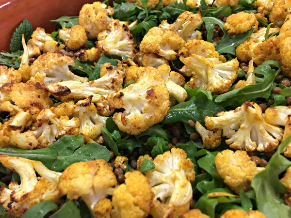 Roasted Spiced cauliflower Salad with lentils