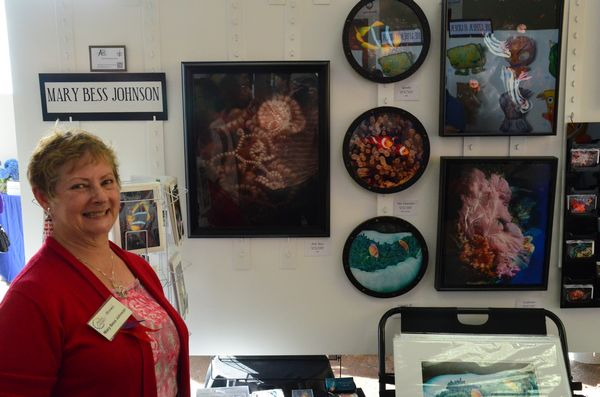 Mary Bess Johnson is well known to North Gallery visitors for her stunning undersea photography.  More than simply photos of marine creatures, she captures color and form to transpose these into images of sheer beauty. (Photos by Larry Vogel)