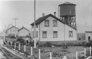 The Railroad Foreman's House circa 1915 in its original location on the east side of the railroad tracks near the present-day depot, just north of Dayton Street.