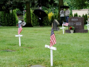 Graves of veterans at the Edmonds Cemetery.