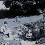 Tom Jenkins and Marilyn Jenkins Johnston enjoying the pond that was located outside the home.
