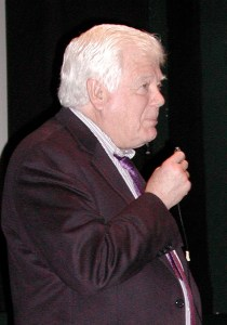 Congressman Jim McDermott takes questions at the Edmonds Theater in December 2012.
