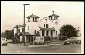 Hughes Memorial Methodist Church, 1953. Built in 1924, it was demolished in 1961.