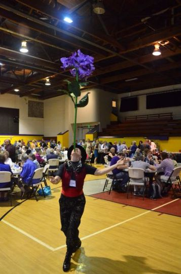 Arts Summit participants enjoy a catered lunch in the gymnasium (who knew ECA had a basketball court?)