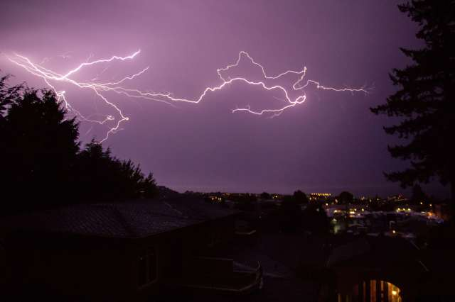 From Matt Haan, a dramatic shot of lightning over downtown Edmonds early Saturday morning.