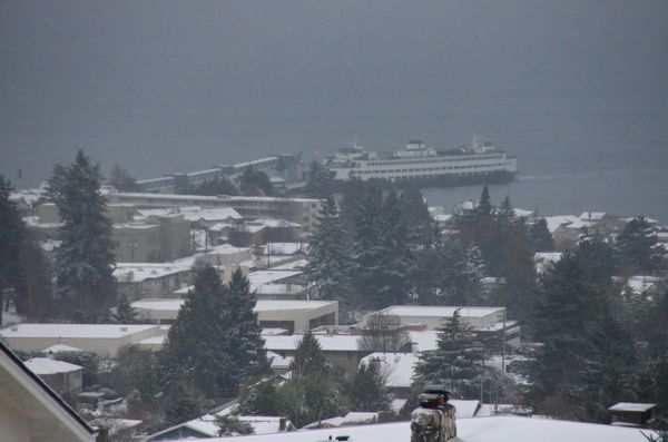Snow-covered rooftops looking toward the ferry from 12th Place and Vista Way near Emerald Hills.