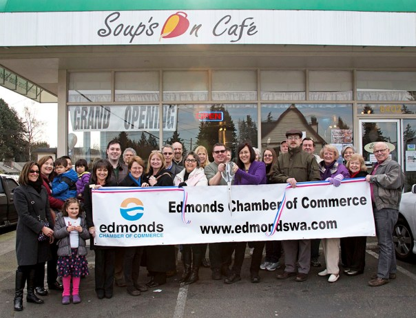 The Edmonds Chamber of Commerce hosted ribbon cuttings for two businesses on Friday. First, Soups On Cafe, at 8402 Bowdoin Way