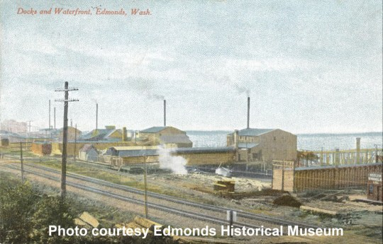 Postcard of shingle mills on Edmonds Waterfront, with Keeler Shingle Company sign on right, 1910.