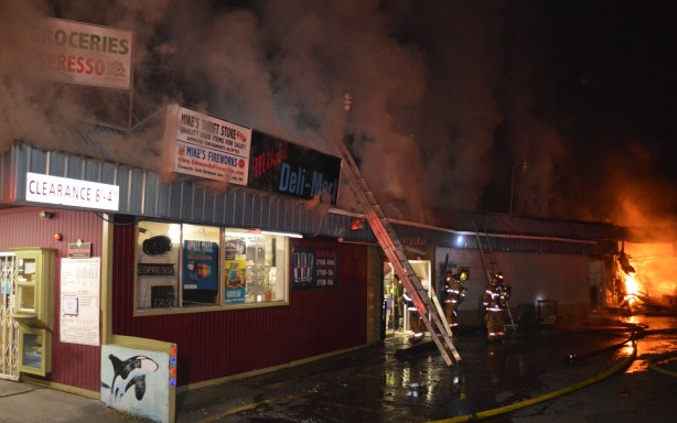 The fire in progress at Mike's Deli, courtesy of Fire District 1.