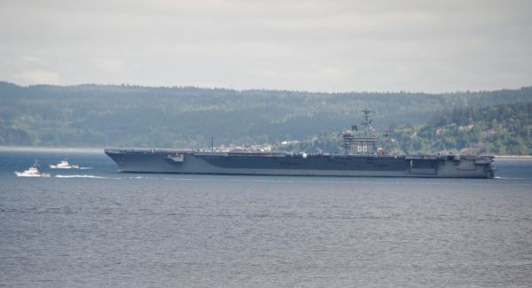 From Julia Wiese, the USS Nimitz as it passed by Edmonds Monday morning, underway for flight deck certification, according to the carrier's Facebook page.
