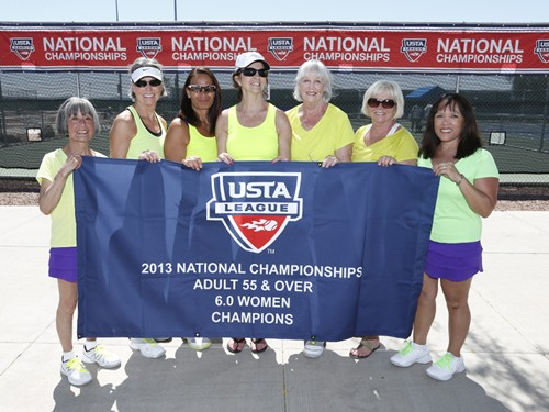 A team from Edmonds is the 2013 United States Tennis Association 55 & Over 6.0 national champions. Representing the Pacific Northwest Section, the team is pictured here at Surprise Tennis and Racquet Complex in Surprise, Ariz. after their victory earlier this month. From left: Ellen Johnson, J R Thompson (Captain), Melanie Korch, Liz Smalley (Captain), Marylen Fitzgerald, Judy Ann Jennings and Nancy Burdyshaw.