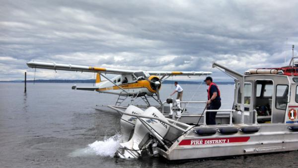 The float plane being towed. (Photo courtesy Fire District 1)