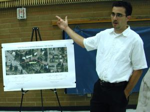 City engineer Bertrand Hauss speaks to citizens interested in the 15th Street Southwest project.