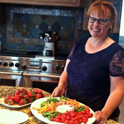 Tina Christiansen catering for a friend (photo by Janette Turner)