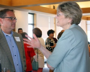 Edmonds City Councilmember and 21st District Rep. candidate Strom Peterson (left) chats with current 21st District Rep. Mary Helen Roberts at Liias' campaign kickoff event.