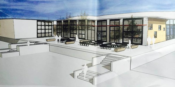 Artist's rendering of the south side of the new Salish Crossing Complex.  Scratch Distillery will be in this section facing onto the patio area.