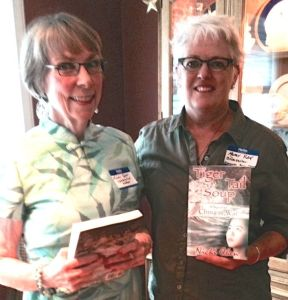 Chen with Edmonds Bookshop owner Mary Kay Sneeringer. (Photo by Emily Hill)