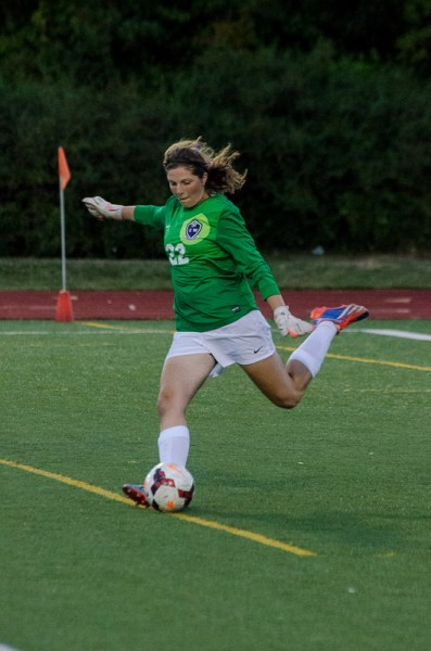 Keeper Kiera Towell got the shut-out as Edmonds-Woodway's girls soccer team defeated Mercer Island 1-0 in the Warriors' home opener Tuesday night at Edmonds Stadium. (Photos by Karl Swenson)