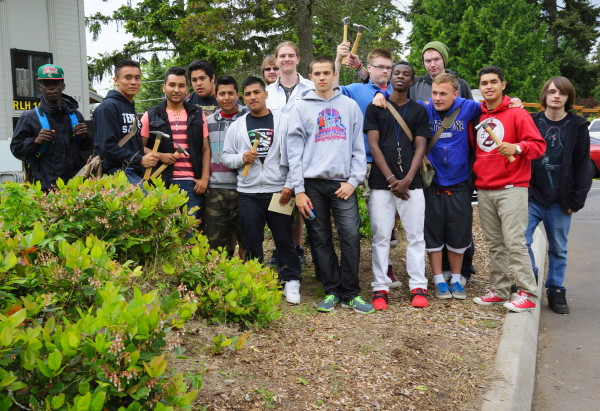 Students who completed last year's house each received their own hammer. (Photo courtesy of Lynnwood Rotary)
