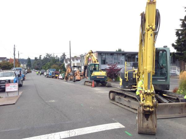 """Construction equipment staged along 4th Ave South. Crews expect this phase of the work to take """"about three weeks."""""""