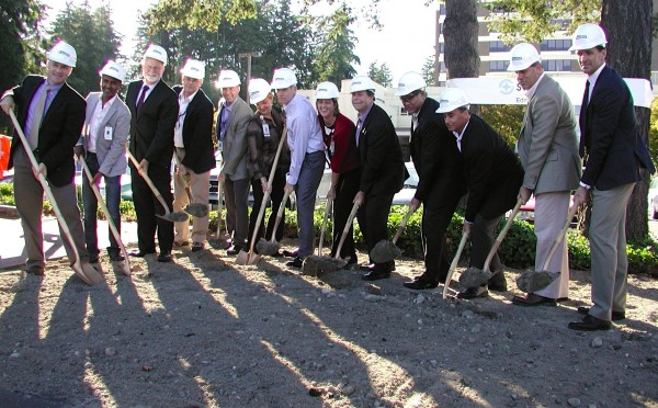 Dignitaries dig in for the groundbreaking.