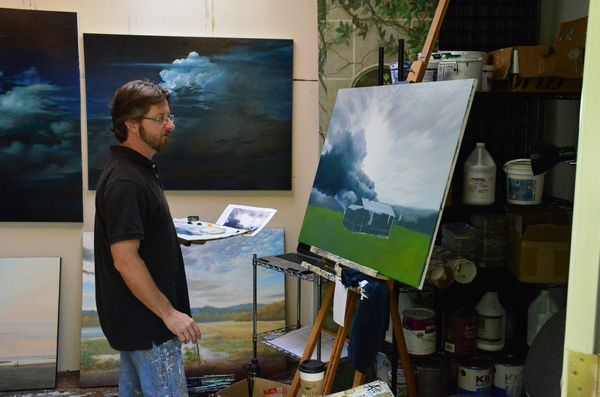 Andy Eccleshall opened up his Westgate area studio to the annual Edmonds Art Studio Tour.  Known for his large canvases featuring dramatic skies and landscapes, Andy's works include several downtown murals, the montage of Hollywood stars in the Edmonds Theater, and stairwell mural in the Public Safety Building.  He is among the featured artists at Edmonds' Cole Gallery.