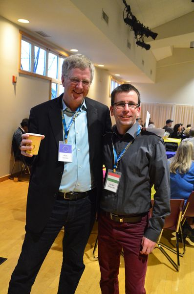 Rick Steves takes a coffee break with five-year lead guide veteran Istavan Koteczki of Hungary.