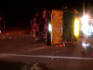 A photo of the bus rollover accident, courtesy of Washington State Patrol.