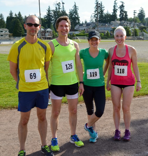 The top four finishers, from left: Jeff Stone, 2nd; Jeffrey Martin, 1st; Kristin Sauter, 3rd; Kate Gebhardt, 4th.