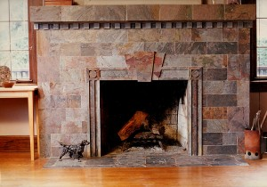 "Rajah ""Multi-color"" slate fireplace with mitered edges."