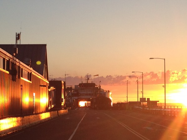 From Stephanie Neff: The setting sun illuminates the ferry dock Tuesday night.