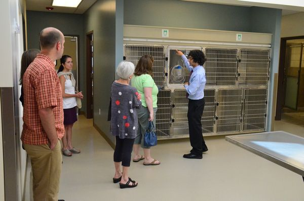 Dr. Garg takes visitors on a tour.